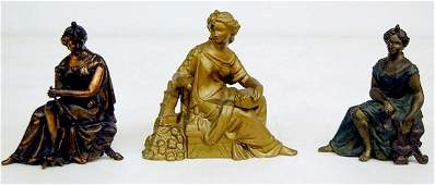 362A: 3 Seated Lady Metal Clock Statues