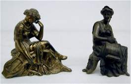 336A: 2 Seated Women Metal Clock Statues