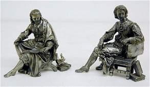 2 Seated Metal Scholar Clock Statues