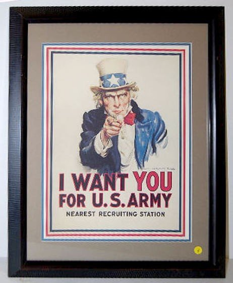 4: J.M. Flagg Framed Uncle Sam Poster, US Army