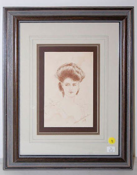 6: C. E. Warden Framed Pencil  Drawing of a Lady