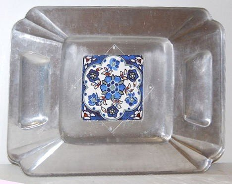 9: Cellini-Craft Hand Wrought Tile Serving Tray