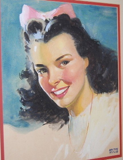 10: W. Titus Framed Pretty Girl Watercolor - 2