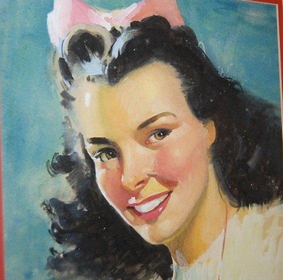 10: W. Titus Framed Pretty Girl Watercolor - 3