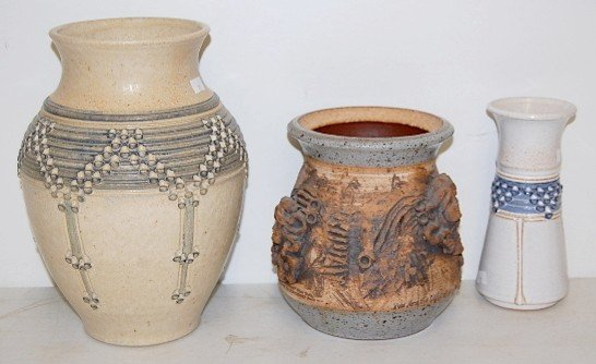 17: 3 Contemporary Collectible Pottery Vases