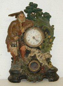 Amer. Clock Co. Iron Front Clock W/ Hunter & Dog