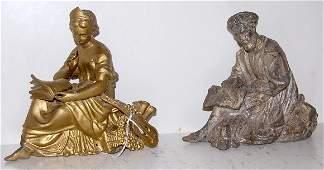 339: 2 Metal Clock Statues, Lady & Man