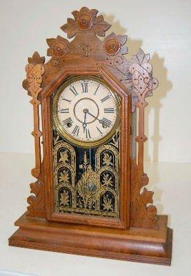 12: Antique Ornate Walnut Parlor Clock