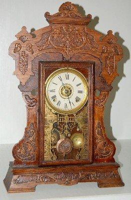 15: Seth Thomas Oak Kitchen Clock With Griffins