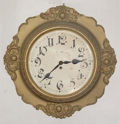 """17: Large Gallery Gesso Clock, 12 1/2"""" Dial"""