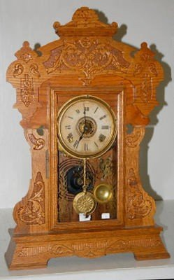 20: Seth Thomas Large Oak Kitchen Clock With Griffins