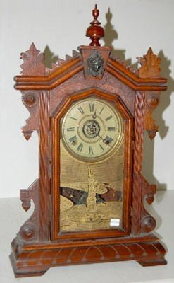 "21: Ingraham Walnut ""Liberty"" Kitchen Clock w/ Alarm"