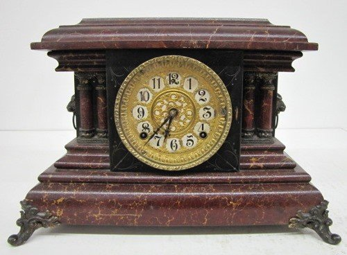 24: Antique Gilbert Fancy Dial Mantle Clock