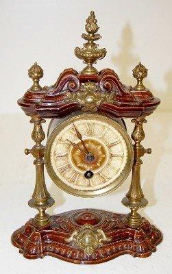 25: Lenzkirch Miniature Porcelain & Bronze Clock