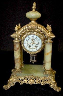 26: Gilbert Onyx & Ornate Metal 4 Column Clock