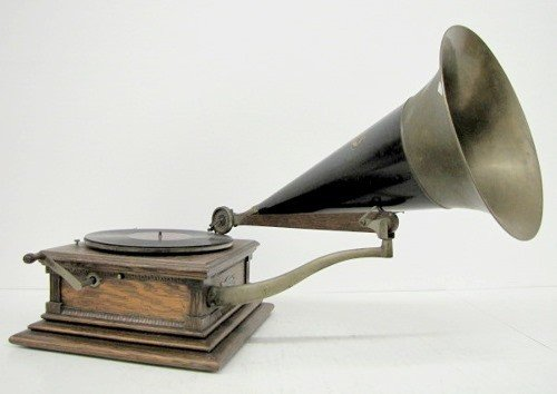 """234M: Victor Type """"M"""" Phonograph w/Horn"""