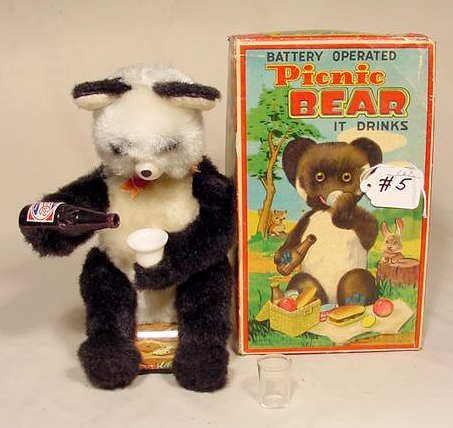 505: Battery Operated Picnic Bear 1950's 5 Actions NR