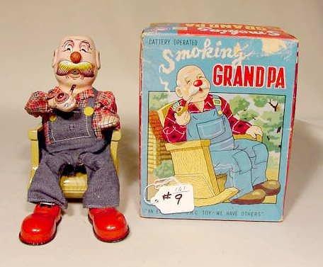 509: Battery Operated Smoking Grandpa in Rocker NR