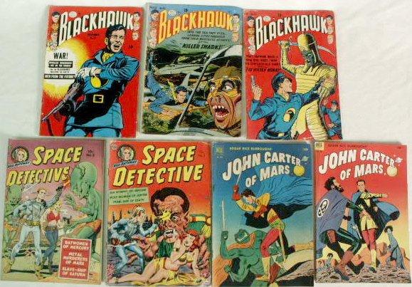 535A: 7 Early Space Comics: Blackhawk etc NR