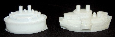 4A: 2 Milk Glass Ship Covered Dishes