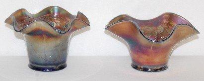 5: 2 Fenton Carnival Glass Hat Vases, Banded