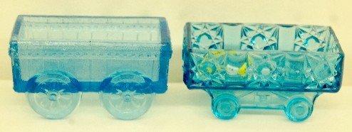 11: 2 Blue EAPG Railroad Car & Wagon Master Salts