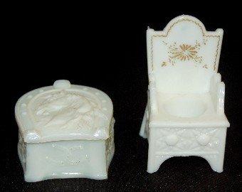 12A: Milk Glass Chair Inkwell & Covered Horseshoe Box