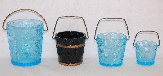 14: 4 EAPG Oaken Buckets, 3 Blue, 1 Black