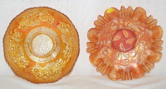15A: 2 Fenton Carnival Glass Bowls, Marigold