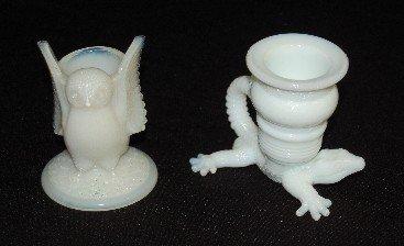 16A: 2 Milk Glass Toothpick Holders, Alligator & Owl