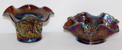 18: 2 Dugan Carnival Glass Bowl & Hat Vase
