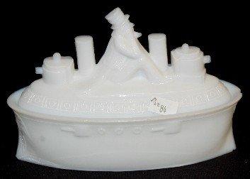 68A: Milk Glass Uncle Sam Battleship Covered Dish