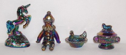 175: 4 Fenton Carnival Glass Figures, Unicorn, Clown +