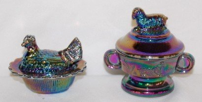 175: 4 Fenton Carnival Glass Figures, Unicorn, Clown + - 3