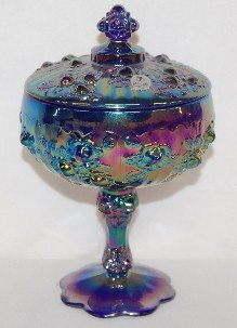 407: 2 Fenton Carnival Glass Stemmed Covered Candy Dish - 2