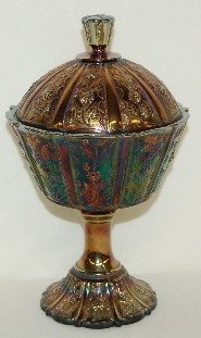 407: 2 Fenton Carnival Glass Stemmed Covered Candy Dish - 4