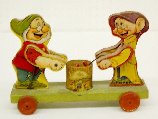 1: Fisher Price W.D. Ent. Doc & Dopey Pull Toy