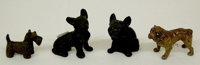 2: 4 Antique Metal & Glass Figural Dogs