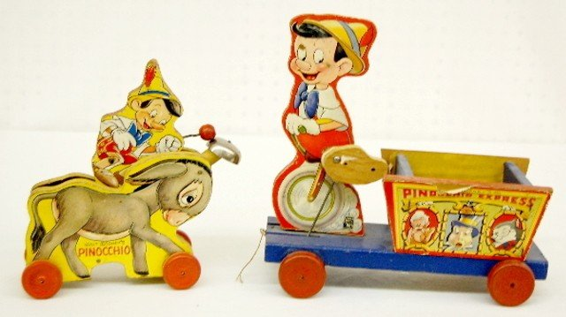 5: 2 Fisher Price W.D. Ent. Pinocchio Pull Toys