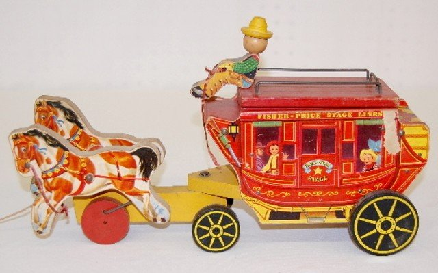 9: Fisher Price Gold Star Stage Coach #175 Pull Toy