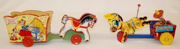 11: 2 Vintage Fisher Price Wagon Pull Toys
