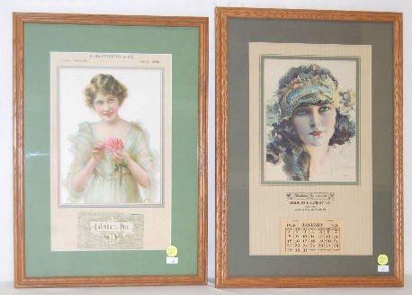 12A: 2 Framed Vintage Advertising Calendars