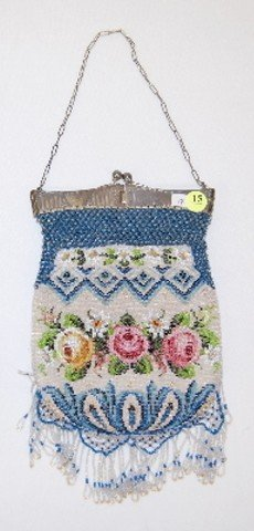 15: Ladies Victorian Floral Beaded Square Top Purse