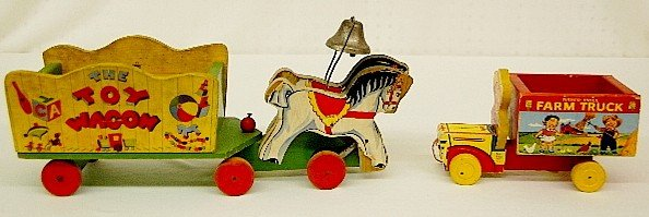 17: 2 Fisher Price Pull Toys: Wagon & Truck