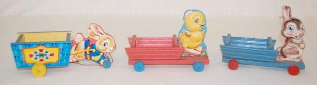 58: 3 Fisher Price Rabbit & Chick Pull Toys