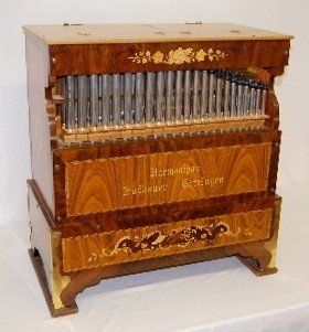 177M: Hofbauer Inlaid Wooden Pipe Organ, Portable