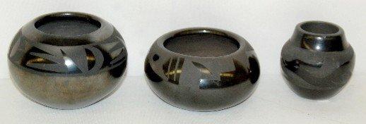 316: 3 Black on Black Pottery Bowls, 2 Signed