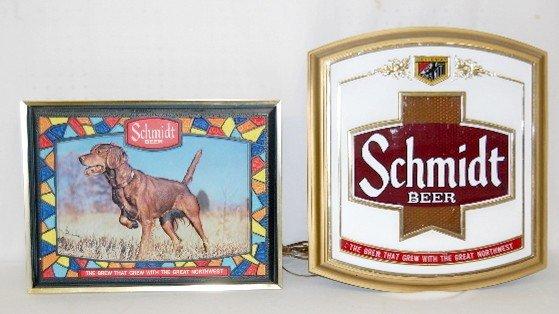 352: 2 Schmidt Beer Advertising Signs, Dog, Logo