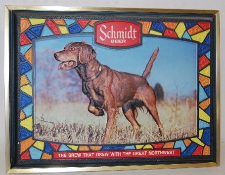 352: 2 Schmidt Beer Advertising Signs, Dog, Logo - 2