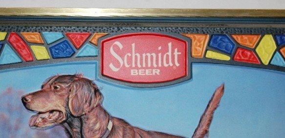 352: 2 Schmidt Beer Advertising Signs, Dog, Logo - 4